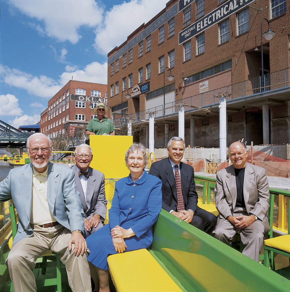 Former mayors of Oklahoma City gathered near the Bricktown Canal in 2000 when Kirk Humphreys was mayor. They are, from left, Andy Coats, Jim Norick, Patience Latting, Humphreys and Ron Norick.
