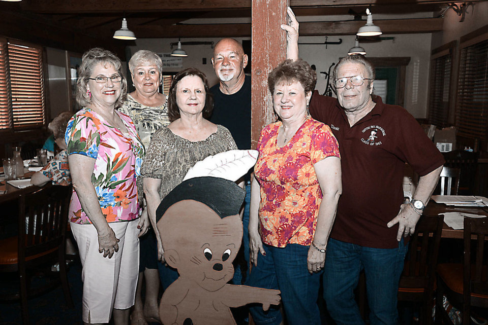 Diana Nowlin, Barbara Neal, Barbara Booth, Frank Myers, Twyla Woolsey, James Cook. Photo by David Faytinger, for The Oklahoman