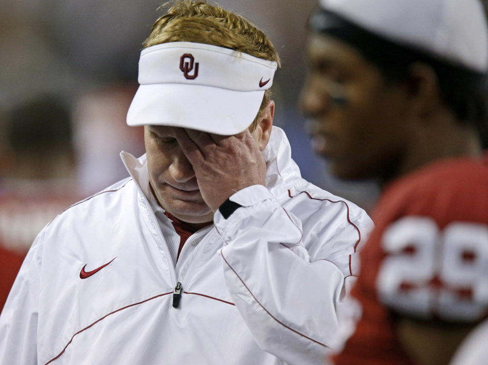 Oklahoma defensive coordinator Mike Stoops reacts during the Cotton Bowl college football game between the University of Oklahoma (OU)and Texas A&M University at Cowboys Stadium in Arlington, Texas, Friday, Jan. 4, 2013. Oklahoma lost 41-13. Photo by Bryan Terry, The Oklahoman