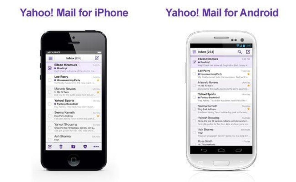 In this undated image made available by Yahoo the company's recently retooled free email service is shown on mobile devices. Aside from the new look aimed at regaining some of the ground Yahoo lost to Google's popular alternative, Yahoo introduced Tuesday, Dec. 11, 2012, email apps for the iPhone, iPad and mobile devices running on the new Windows 8 operating system. (AP Photo/Yahoo)