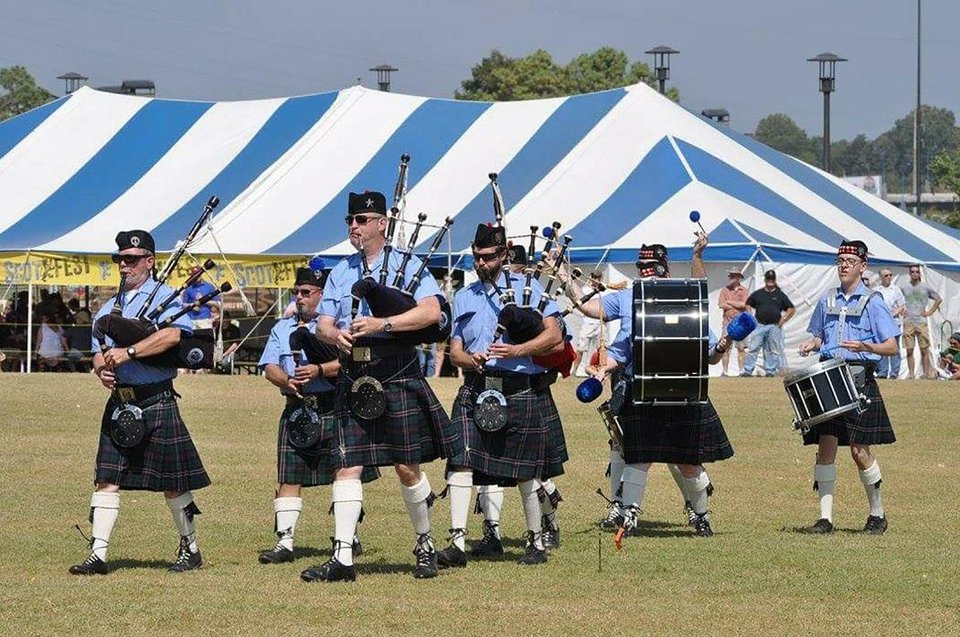 Photo - Members of the Oklahoma Scottish Pipes & Drums perform at Scotfest in Tulsa in 2017. [Photo provided]