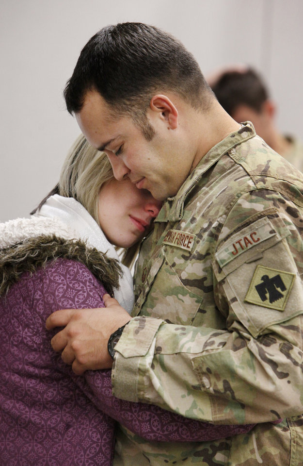 Master Sgt. Edgar Rodriguez, Tuttle, says goodbye to his fiance Alisha Chapman at the Will Rogers Air National Guard Base in Oklahoma City Monday, Nov. 28, 2011. Six members of the 146th Air Support Operations Squadron of the Oklahoma Air National Guard are being deployed to Afghanistan. Photo by Paul B. Southerland, The Oklahoman