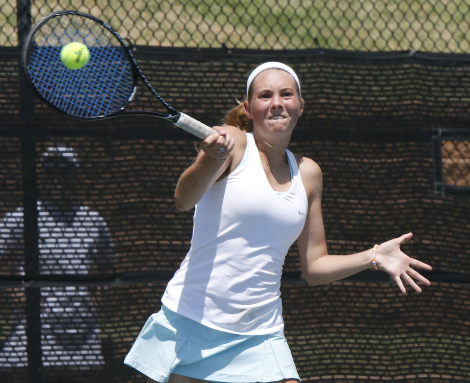 Photo - Heritage Hall's Kay Allen plays her 5A semi-final match against Cascia Hall's Peyton Jennings during the Girl's State Tennis Tournament at the OKC Tennis Center in Oklahoma City, OK, Saturday, May 10, 2014,  Photo by Paul Hellstern, The Oklahoman