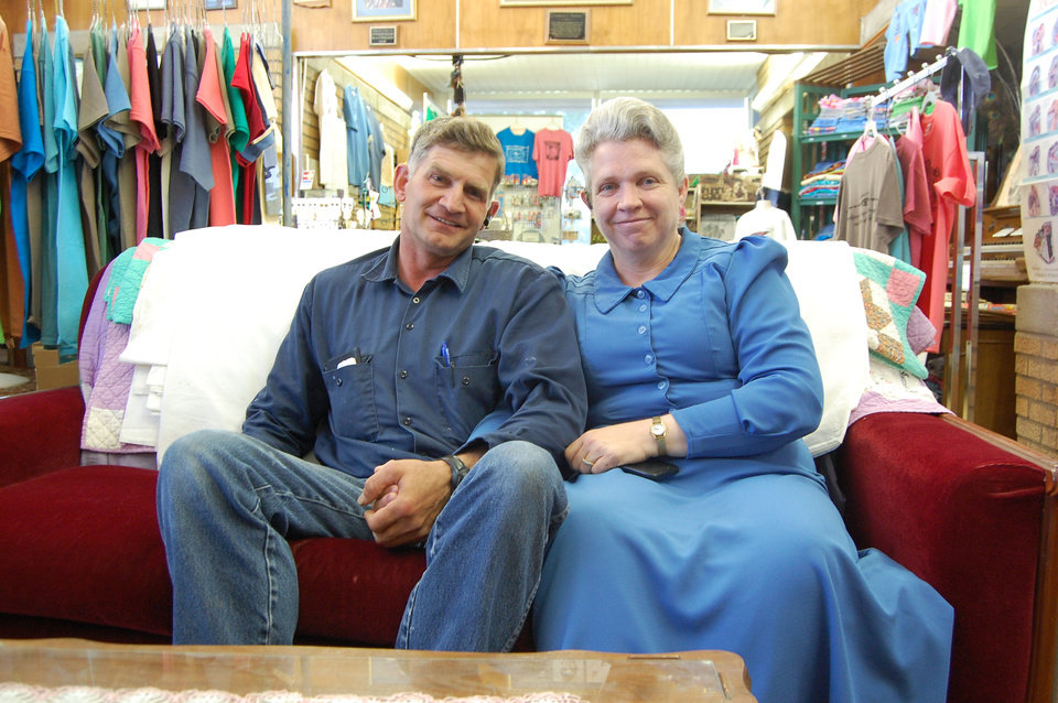 Photo - George and Virginia Barlow sit in the Cimarron Heritage Center Museum on July 1 . The Barlows, members of the Fundamentalist Church of Jesus Christ of Latter Day Saints, recently moved to Boise City.  Photos by Graham Lee Brewer, The Oklahoman