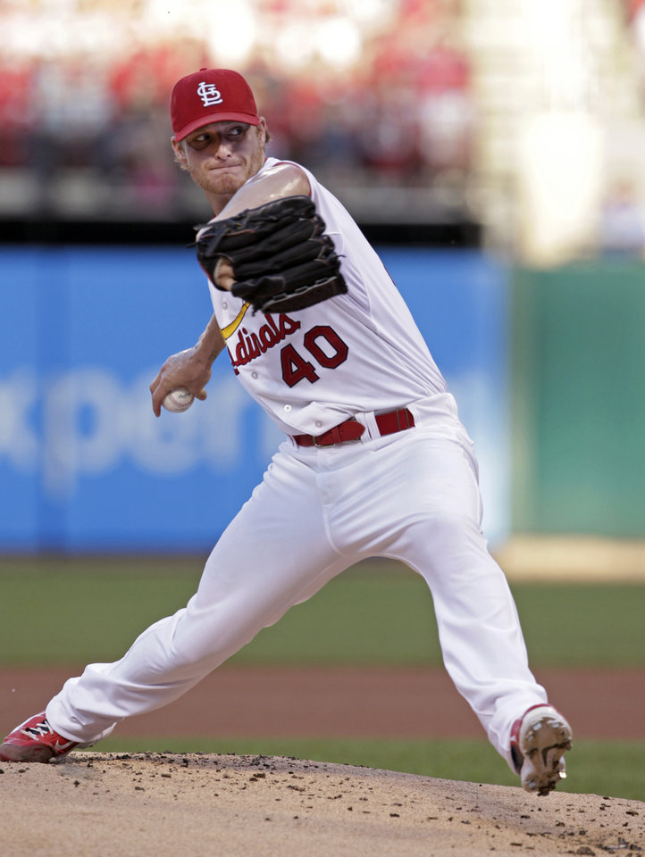 Photo - St. Louis Cardinals starting pitcher Shelby Miller sets to deliver in the second inning of a baseball game against the Kansas City Royals, Monday, June 2, 2014, in St. Louis.(AP Photo/Tom Gannam)