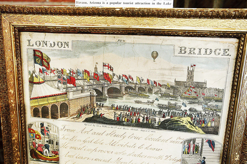 A 1832 colored lithograph of the royal opening of the London Bridge is on display at the Chisholm Trial Museum in Kingfisher. Photo by Paul B. Southerland, The Oklahoman <strong>PAUL B. SOUTHERLAND - PAUL B. SOUTHERLAND</strong>