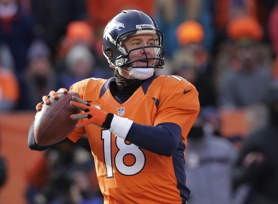 Photo - Denver Broncos quarterback Peyton Manning steps back to pass against the Baltimore Ravens in the first quarter of an AFC divisional playoff NFL football game, Saturday, Jan. 12, 2013, in Denver. (AP Photo/Charlie Riedel)