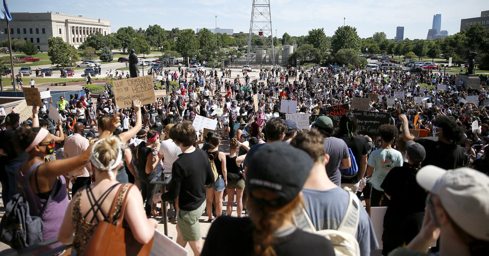 Photo - Protesters rally on the south steps of the state Capitol in Oklahoma City on Sunday, May 31, 2020. The Black Lives Matter protest was in response to the death of George Floyd. [Bryan Terry/The Oklahoman]