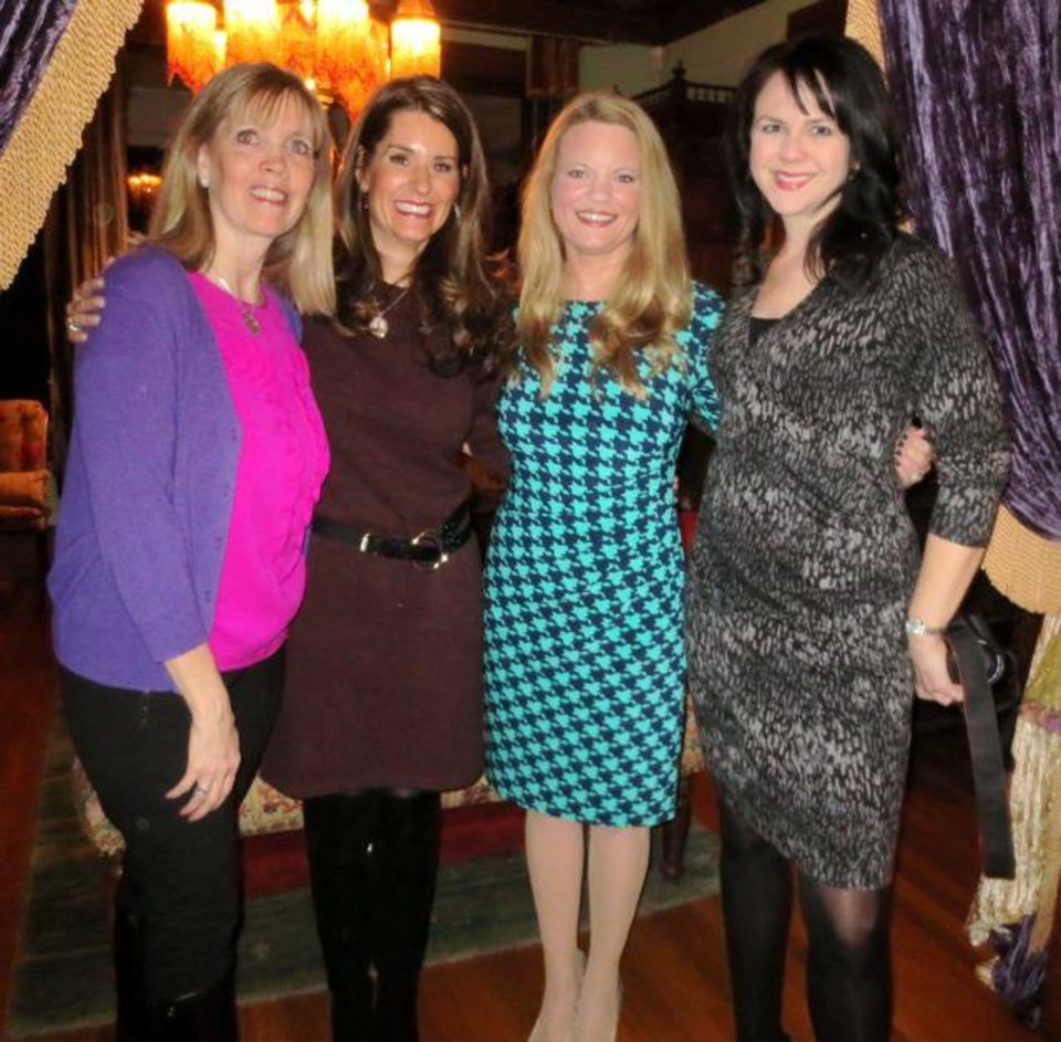 Cristi Reiger, Kristen Brown, Kristin Leonard and Adrienne Nobles were at the party in the Reiger home. (Photo by Helen Ford Wallace).