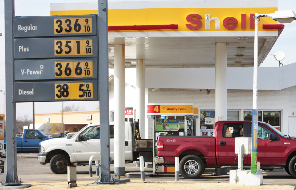 Gas prices are shown Friday at a station on Britton Road near Western.  Photo By David McDaniel, The Oklahoman
