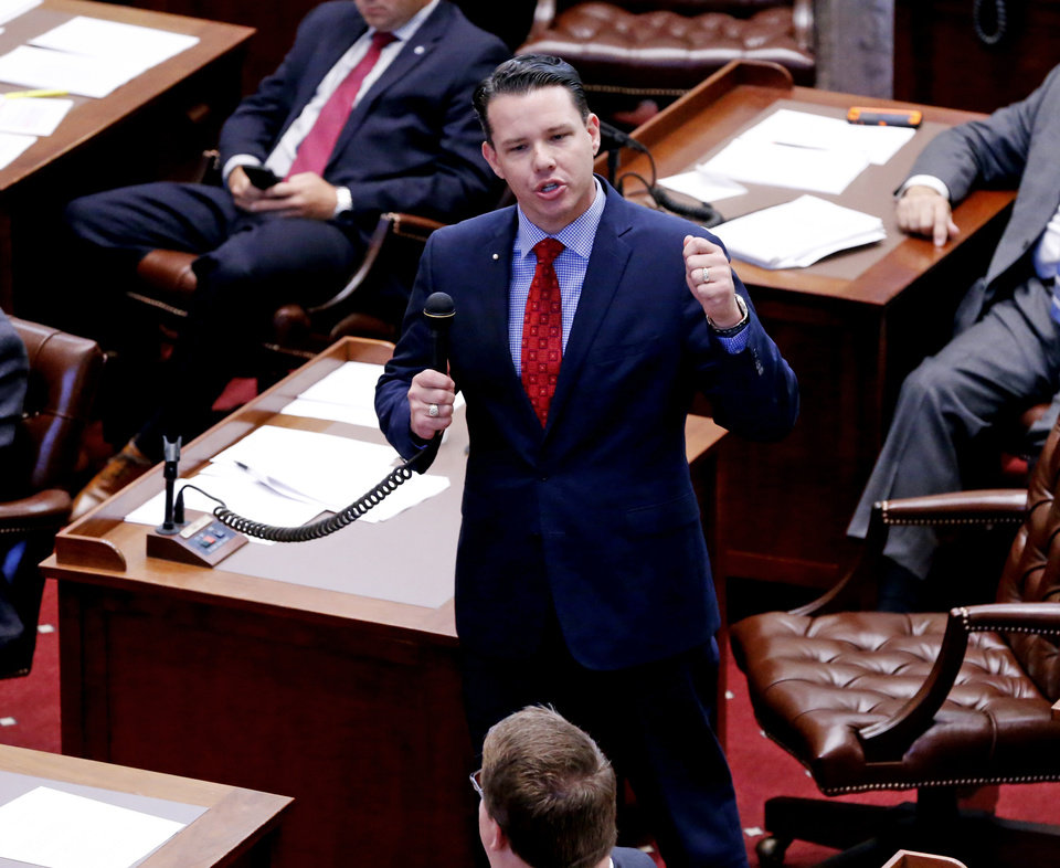 Photo - Senator Jason Smalley speaks as the senate considers legislation before adjourning from a special session on Friday, Nov. 17, 2017 in Oklahoma City, Okla.  Photo by Steve Sisney, The Oklahoman