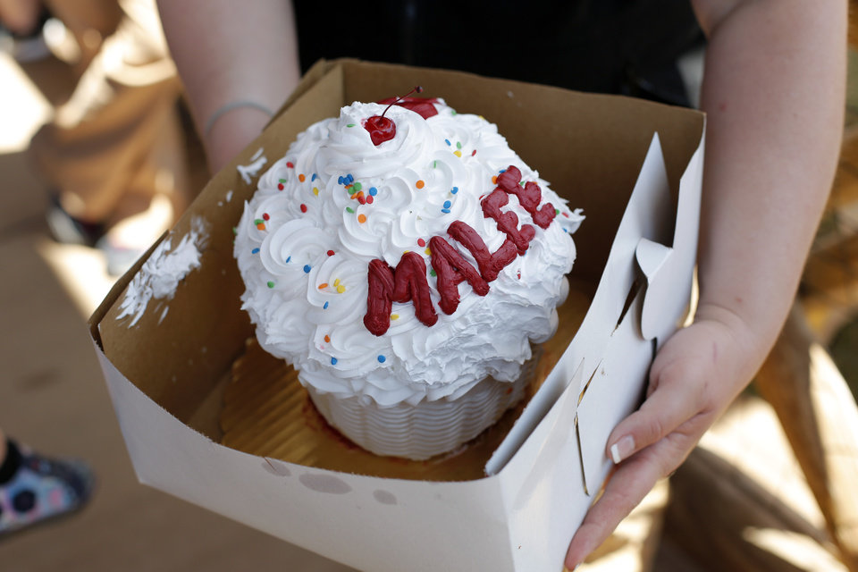 Photo - A birthday cupcake for the elephant, Malee, during her Second Birthday Bash at the Oklahoma City Zoo, Sunday, April 14, 2013.  Photo by Garett Fisbeck, For The Oklahoman