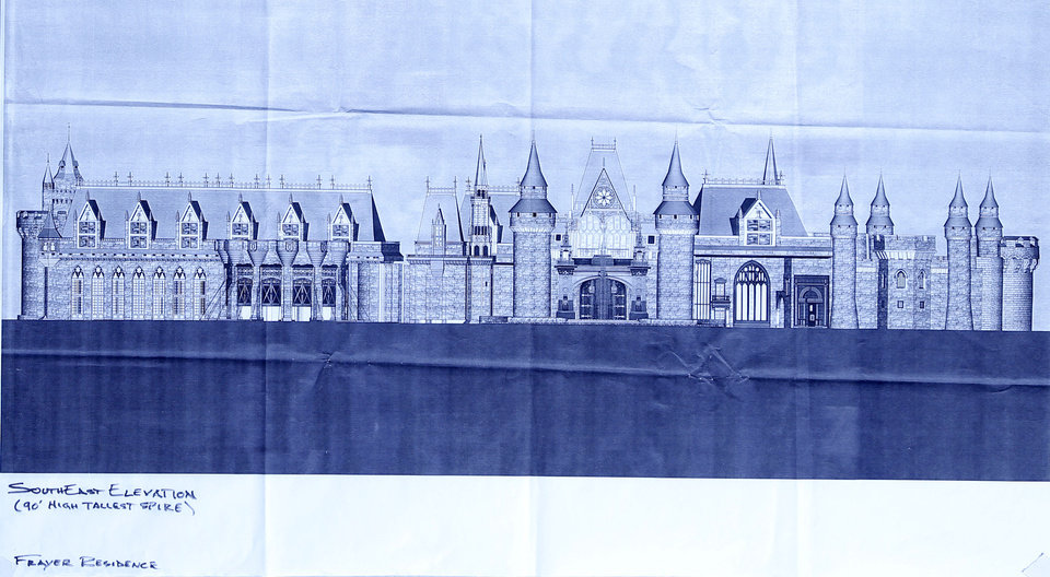 Blueprint of south front elevation of the Frayer residence to be built in northeast Edmond.  Photos by Doug Hoke, The Oklahoman  <strong>DOUG HOKE - THE OKLAHOMAN</strong>