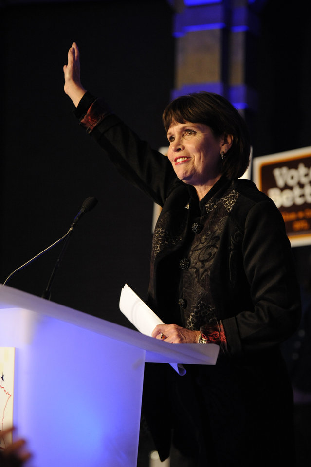 U.S. Rep. Betty McCollum, D Minn., speaks at an election night event at the Crowne Plaza on Tuesday, Nov. 6, 2012 in St. Paul, Minn. (AP Photo/Hannah Foslien)