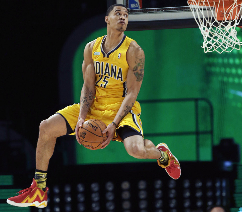 Gerald Green of the Indiana Pacers competes in the dunk contest during NBA basketball All-Star Saturday Night, Feb. 16, 2013, in Houston. (AP Photo/Pat Sullivan)