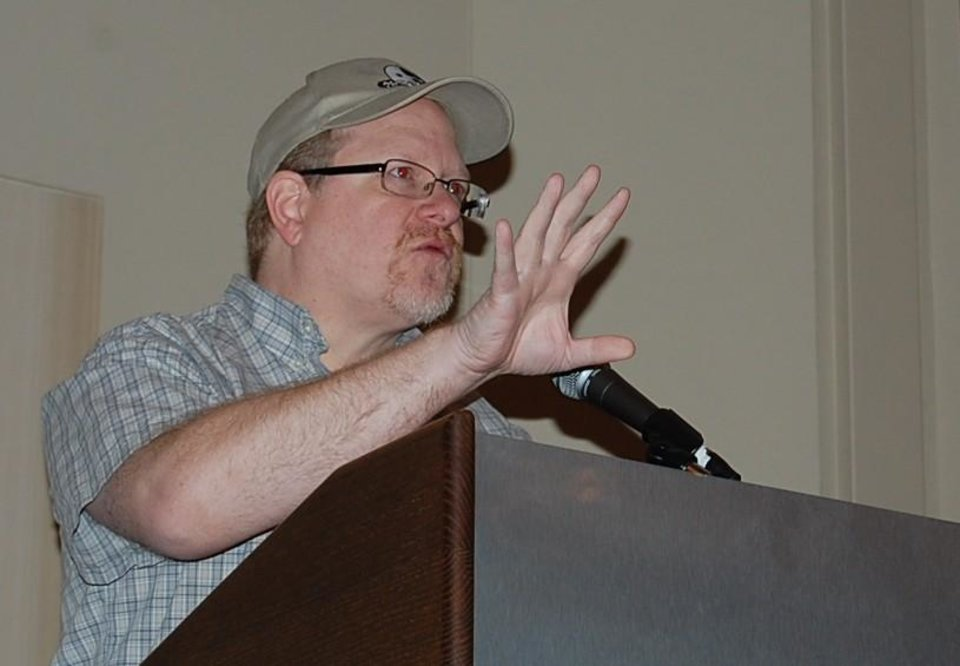 Photo -  Comic-book creator Mark Waid gives the keynote address at the eighth annual ComicsPRO members meeting. Photo by Annette Price, for The Oklahoman