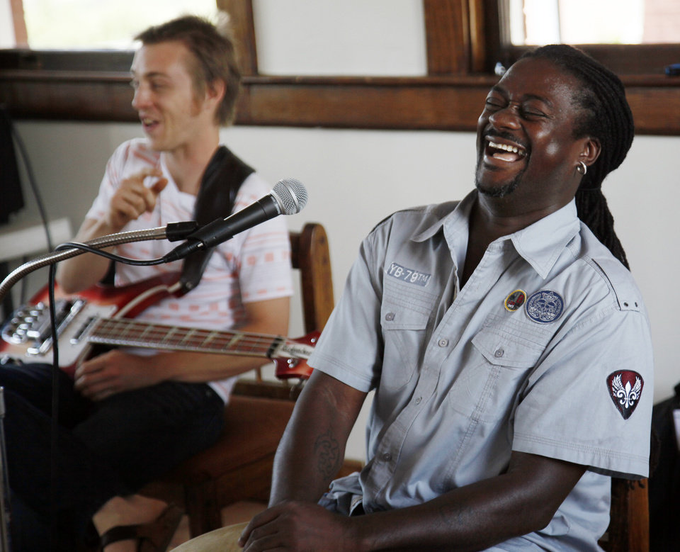 "Percussionist Arthur Thompson, right, laughs at a comment by bassist Matt Hayes during a Jazz in June clinic on ""The Tulsa Sound"" at the Santa Fe Depot, 200 S Jones Ave., in Norman, Okla., Saturday, June 23, 2012. Photo by Nate Billings, The Oklahoman"