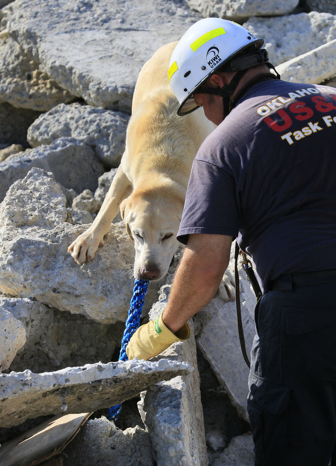 "Photo -  Oklahoma City Fire Department Lt. Jason Smith congratulates rescue dog Jagger on Aug. 3 at the Schwartz Ready Mix rubble pile on W Reno in Oklahoma City as he finds a ""disaster survivor"" during a weekly training exercise. [Photos by Paul Hellstern, The Oklahoman]"