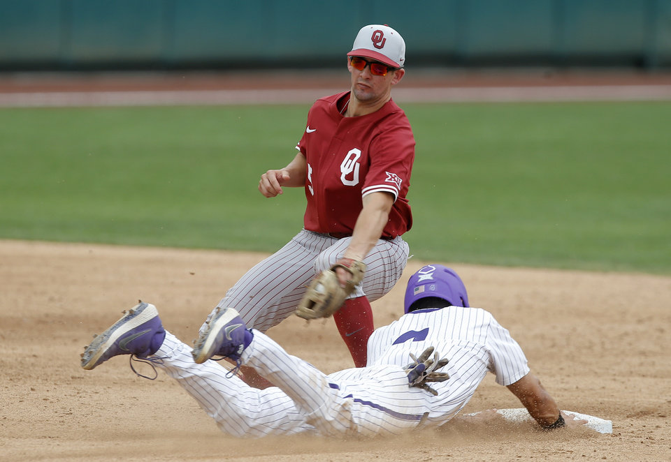 Photo - TCU's Johnny Rizer slides to second under Oklahoma's Conor McKenna in the fourth inning of a Big 12 baseball tournament game between the University of Oklahoma (OU) and TCU at Chickasaw Bricktown Ballpark in Oklahoma City, Okla., Thursday, May 23, 2019.  [Bryan Terry/The Oklahoman]