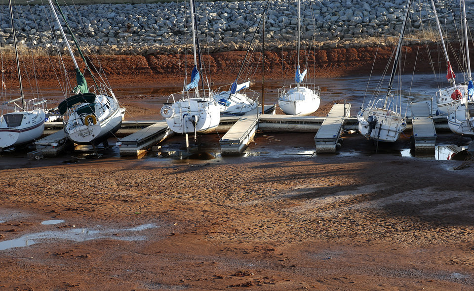 Boats sit in the dry Lake Hefner in Oklahoma City,  Tuesday, Feb. 5, 2013.Photo by Sarah Phipps, The Oklahoman <strong>SARAH PHIPPS - SARAH PHIPPS</strong>