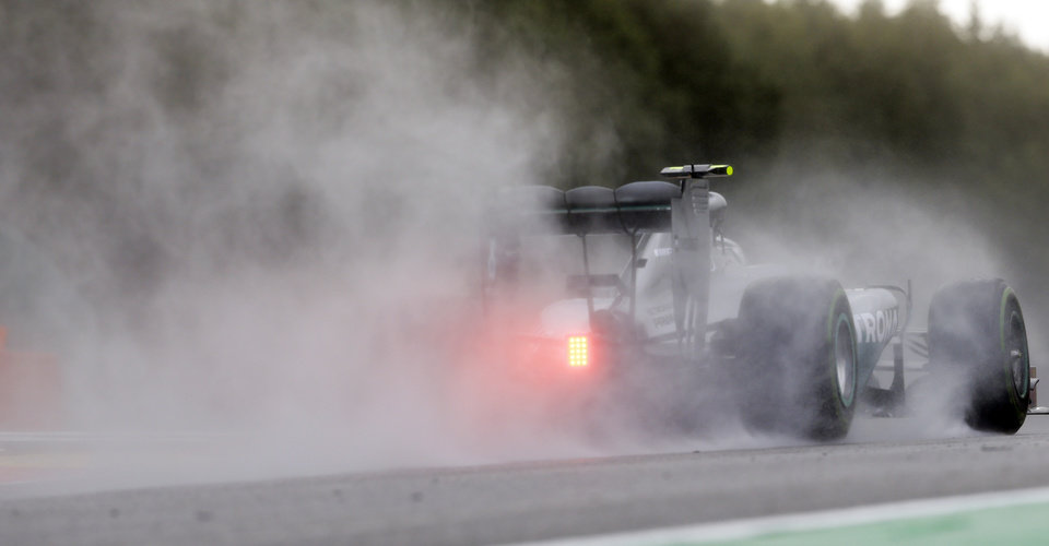 Photo - Mercedes driver Nico Rosberg of Germany steers his car during the qualifying session at the Spa-Francorchamps circuit, Belgium, Saturday, Aug. 23, 2014. The Belgium Formula One Grand Prix will be held on Sunday. (AP Photo/Luca Bruno)