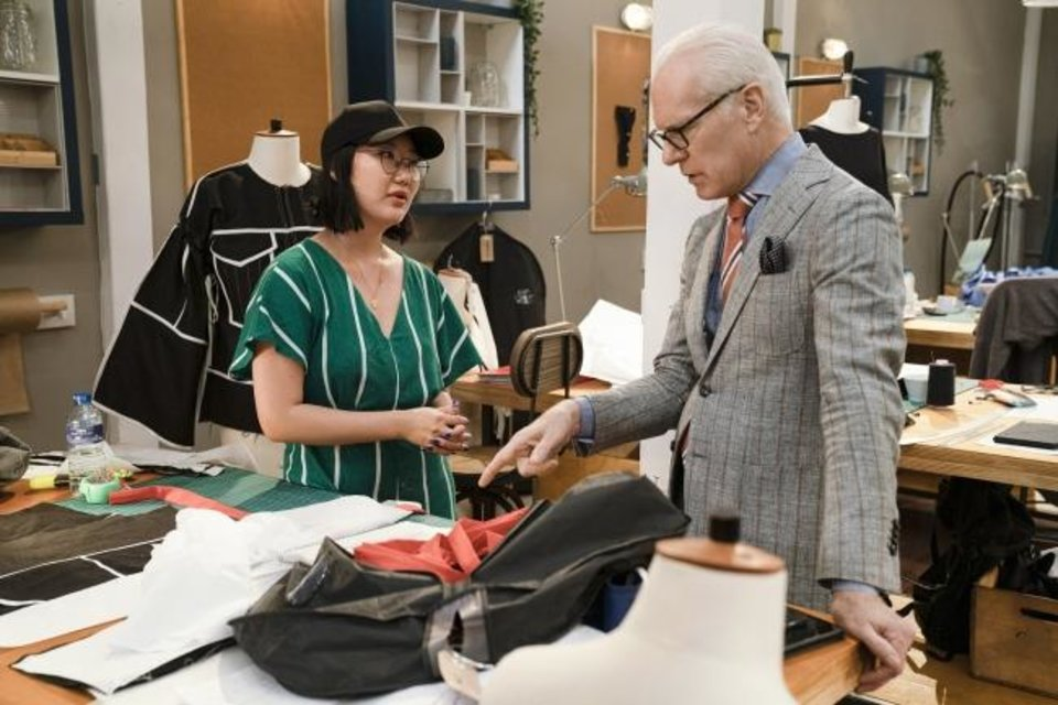 Photo -  From left, fashion designer Ji Won Choi and host Tim Gunn appear in a scene from the first episode of the hotly anticipated new Amazon Original series