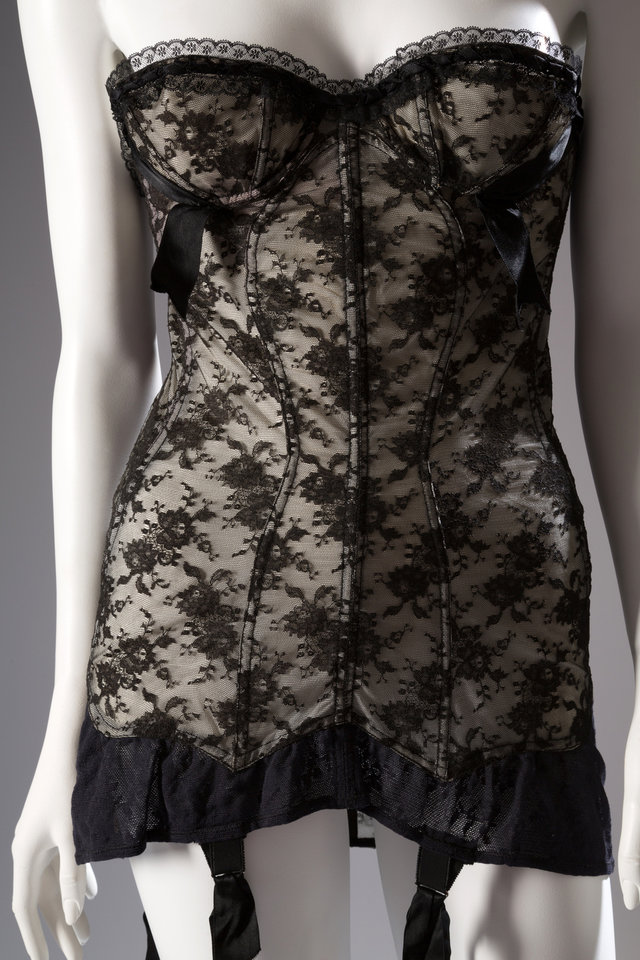 Photo - This image released by The Museum at FIT shows the 1954 Marie Rose Lebigot for Lily of France, a corselet in lace, nylon, and elastic. From a 1770 corset to a 2014 bra-and-panty set in lacy stretch silk, the Museum at the Fashion Institute of Technology has taken on lingerie and ladies foundation garments as the focus of a new exhibition. In about 70 pieces,