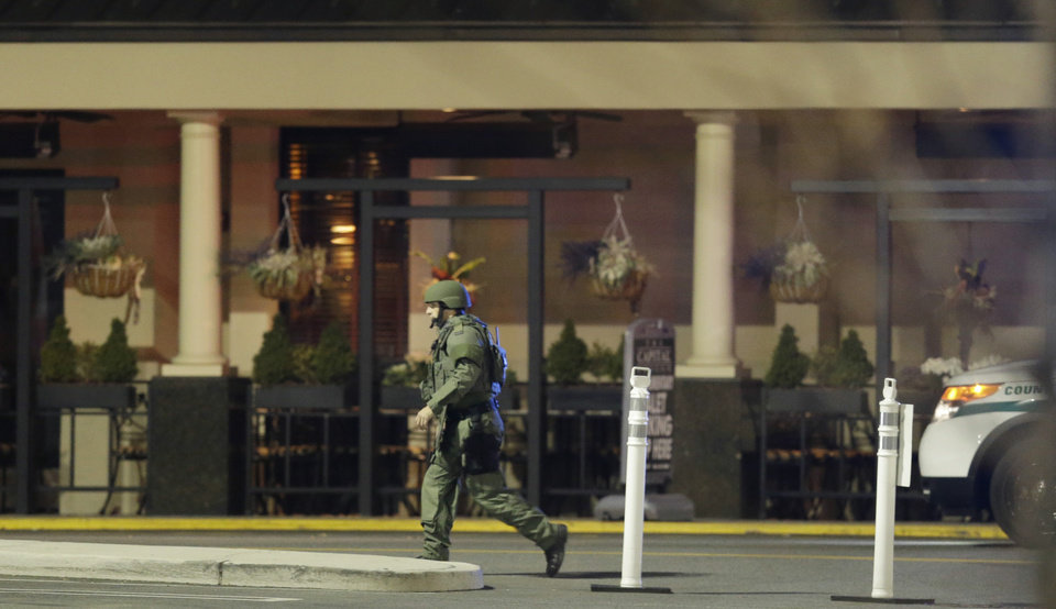 Photo - An official wearing tactical gear walks outside of Garden State Plaza Mall following reports of a shooter, Monday, Nov. 4, 2013, in Paramus, N.J. Hundreds of law enforcement officers converged on the mall Monday night after witnesses said multiple shots were fired there. (AP Photo/Julio Cortez)
