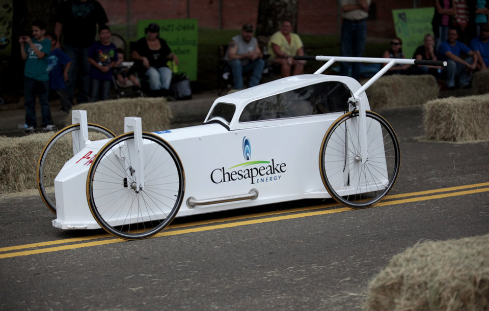 A Chesapeake car races during Rebuilding Together's ninth annual Construction Derby in Oklahoma City.