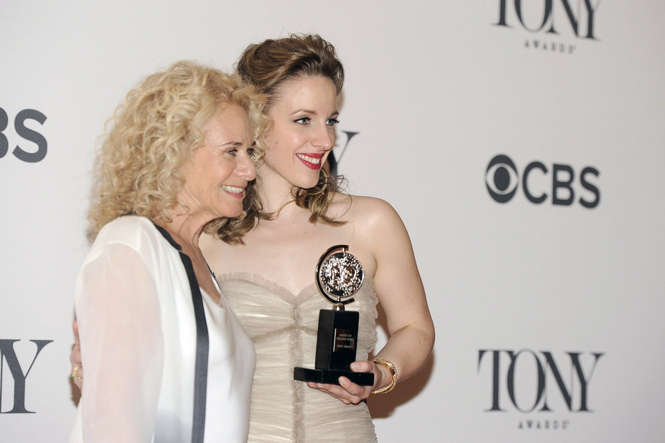 Photo - Carole King, left, poses with Jessie Mueller, winner of best performance by an actress in a leading role in a musical for