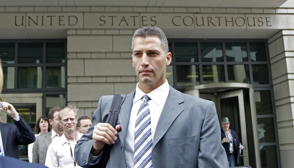 Former Major League baseball pitcher Andy Pettitte leaves the Federal Court in Washington, Wednesday, May 2, 2012, after testifying in Roger Clemens; trial. Pettitte acknowledged under cross-examination Wednesday that he might have misunderstood Roger Clemens when Pettitte said he heard his former teammate say he used human growth hormone. (AP Photo/Haraz N. Ghanbari)