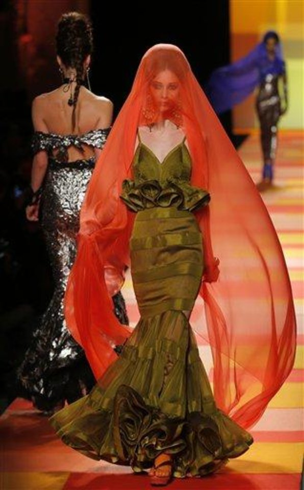 A model wears a creation for French fashion fashion designer Jean-Paul Gaultier\'s Spring-Summer 2013 Haute Couture fashion collection, presented in Paris, Wednesday, Jan.23, 2013. (AP Photo/Jacques Brinon)