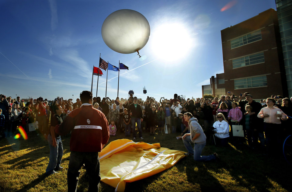 A weather balloon is launched at the National Weather Center Weather Festival, on Saturday, Nov. 3, 2012. Photo by Steve Sisney, The Oklahoman