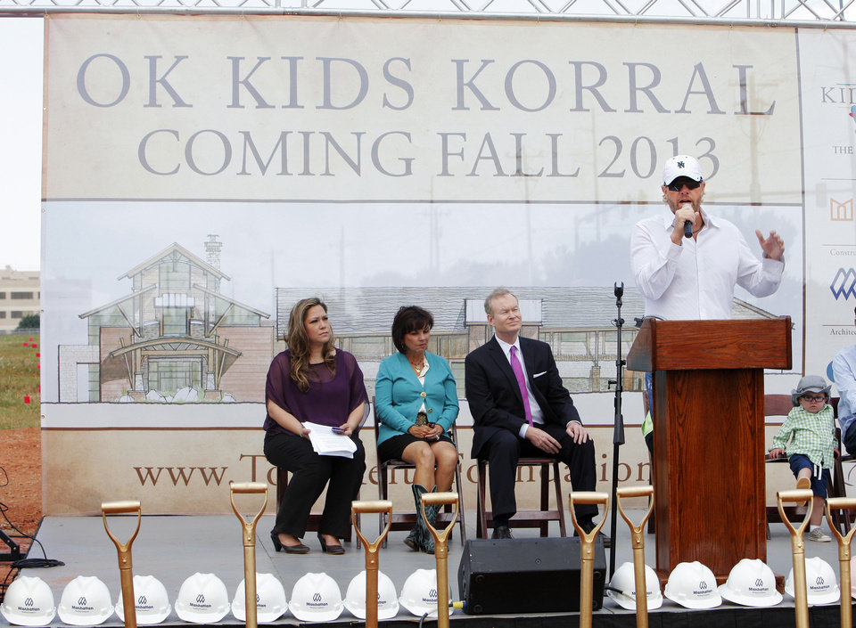 Photo - Toby Keith speaks during groundbreaking ceremonies for the OK Kids Korral, to be built by the Toby Keith Foundation at NE 8 and Laird, in Oklahoma City Friday, May 18, 2012. Photo by Paul B. Southerland, The Oklahoman