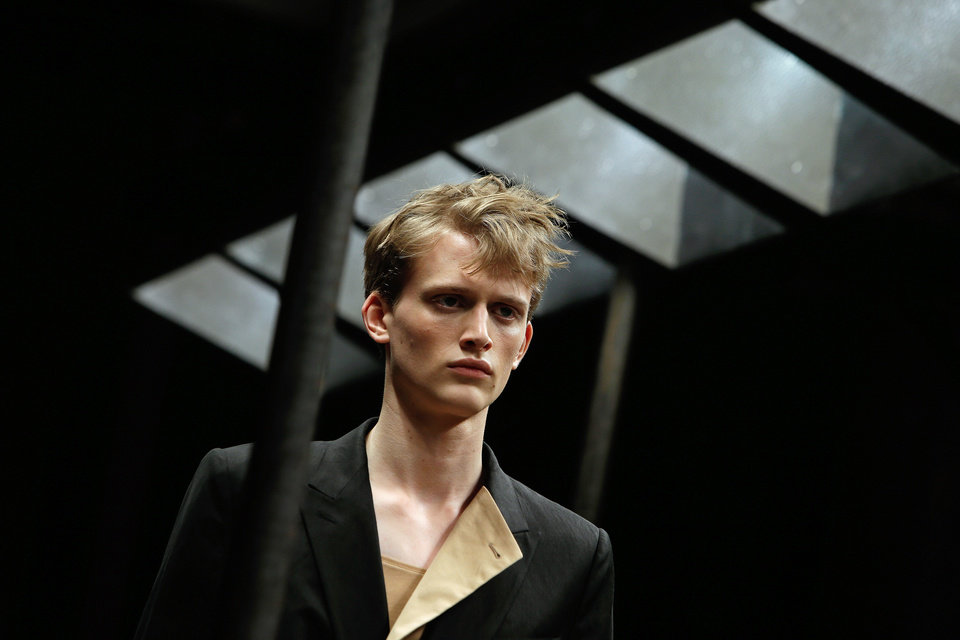 Photo - A model wears a creation by Belgian designer Dries Van Noten, for his men's Spring-Summer 2015 fashion collection, presented in Paris, Thursday, June 26, 2014. (AP Photo/Thibault Camus)
