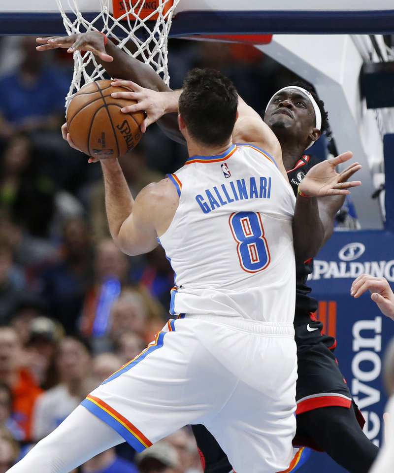 Photo - Oklahoma City's Danilo Gallinari (8) has his shot blocked by Toronto's Pascal Siakam (43) in the third quarter during an NBA basketball between the Oklahoma City Thunder and the Toronto Raptors at Chesapeake Energy Arena in Oklahoma City, Wednesday, Jan. 15, 2020. Toronto won 130-121. [Nate Billings/The Oklahoman]