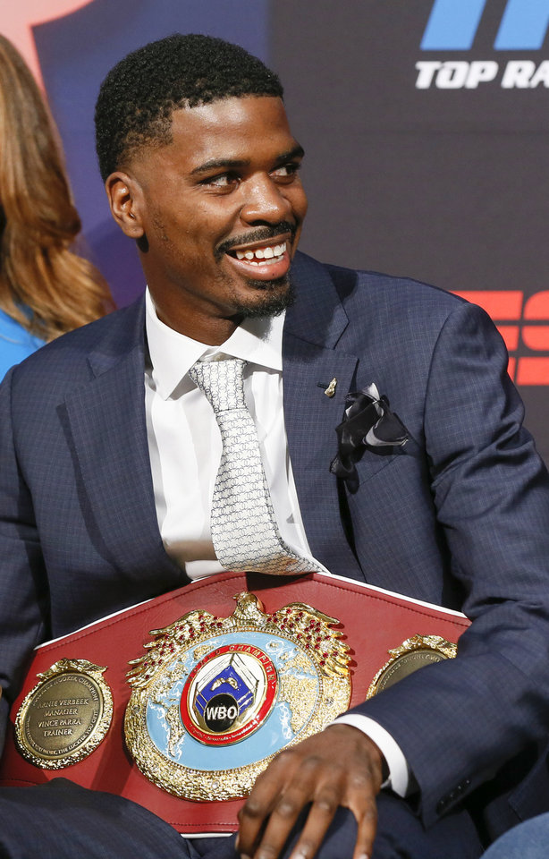 Photo - Maurice Hooker smiles during the press conference for his WBO junior welterweight world title fight against Alex Saucedo, at the Sheraton Hotel in Oklahoma City, Nov. 14, 2018. Photo by Nate Billings, The Oklahoman