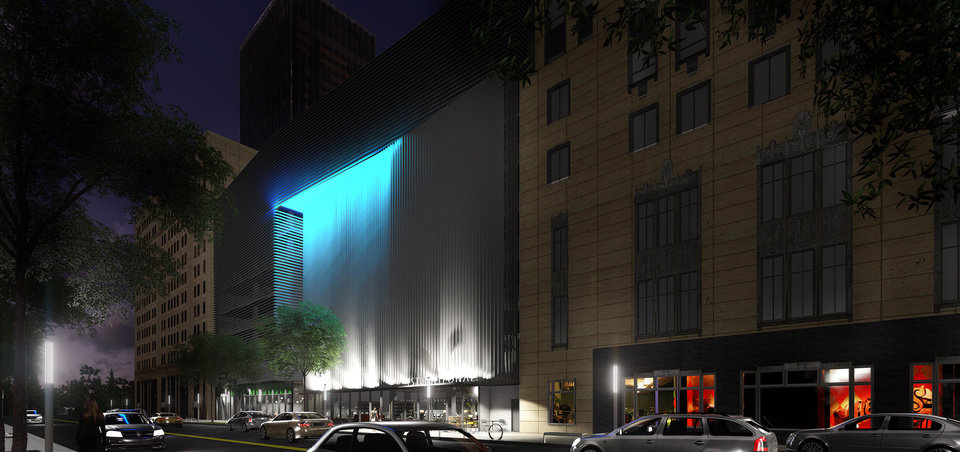 Photo - A look at the proposed new garage and ground floor retail along Park Avenue at night. ADG.