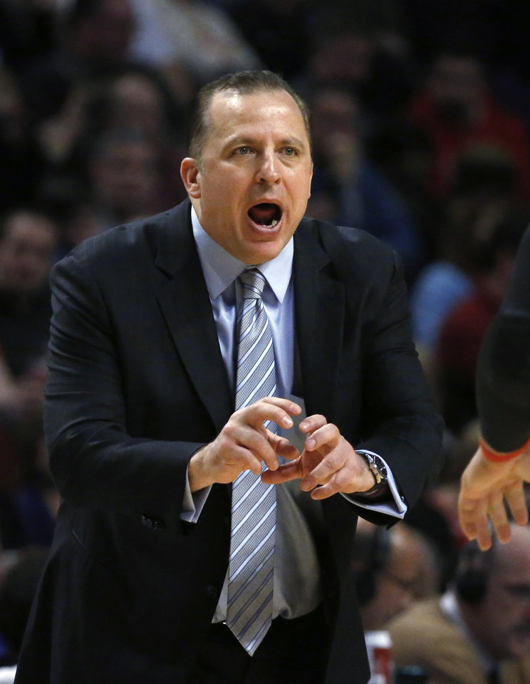 Chicago Bulls coach Tom Thibodeau calls to his team during the second half of an NBA basketball game against the Atlanta Hawks on Monday, Jan. 14, 2013, in Chicago. The Bulls won 97-58. (AP Photo/Charles Rex Arbogast)