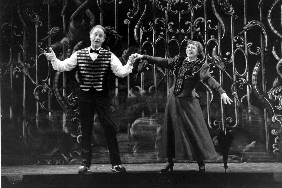 Photo - FILE - This June 11, 1982 file photo shows Sid Caesar, left, and Imogene Coca practicing their soft shoe routine during a dress rehearsal in Boston for the Boston Opera Company's production