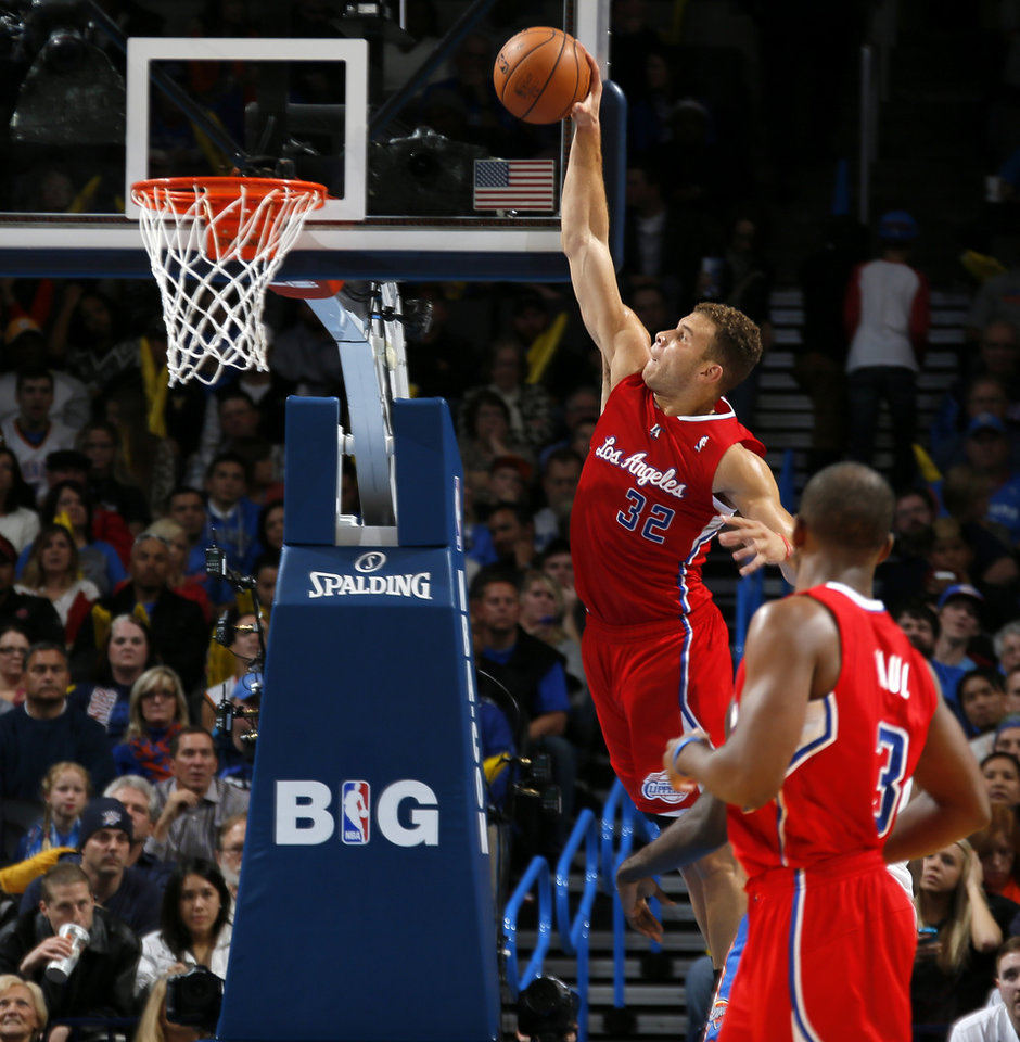 Los Angeles Clippers' Blake Griffin (32) dunks the ball during an NBA basketball game between the Oklahoma City Thunder and the Los Angeles Clippers at Chesapeake Energey Arena in Oklahoma City, Thursday, Nov. 21, 2013. Photo by Bryan Terry, The Oklahoman