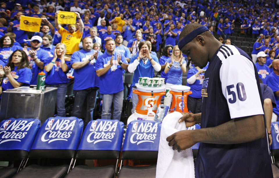 Zach Randolph (50) of Memphis leaves the court after game 7 of the NBA basketball Western Conference semifinals between the Memphis Grizzlies and the Oklahoma City Thunder at the OKC Arena in Oklahoma City, Sunday, May 15, 2011. The Thunder won, 105-90. Photo by Nate Billings, The Oklahoman