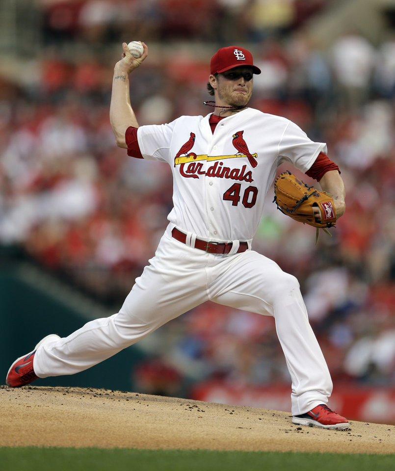 Photo - St. Louis Cardinals starting pitcher Shelby Miller throws during the first inning of a baseball game against the New York Yankees on Wednesday, May 28, 2014, in St. Louis. (AP Photo/Jeff Roberson)