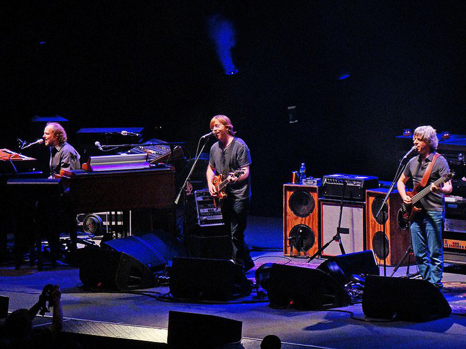 Phish, from left: Page McConnell, Trey Anastasio and Mike Gordon. Drummer Jon Fishman is not pictured. PHOTO BY DON SHINNEMAN <strong></strong>