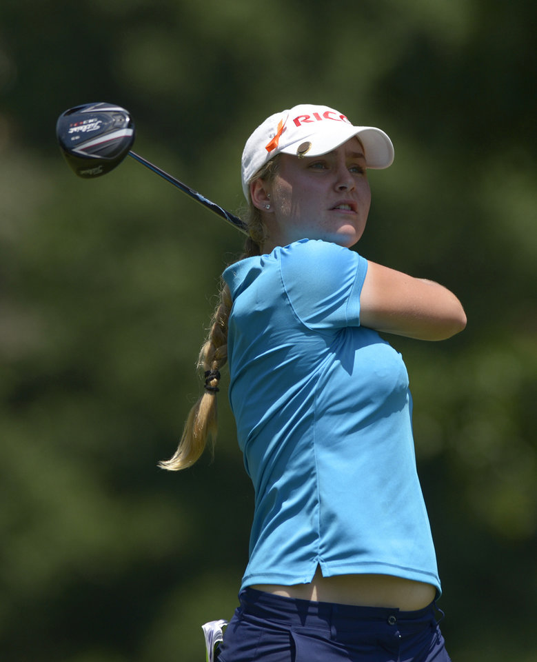 Photo - Charley Hull of England watches the flight of her tee shot from the seventh tee box during the second round of the Airbus LPGA Classic golf tournament at Magnolia Grove on Friday, May 23, 2014, in Mobile, Ala. (AP Photo/G.M. Andrews)