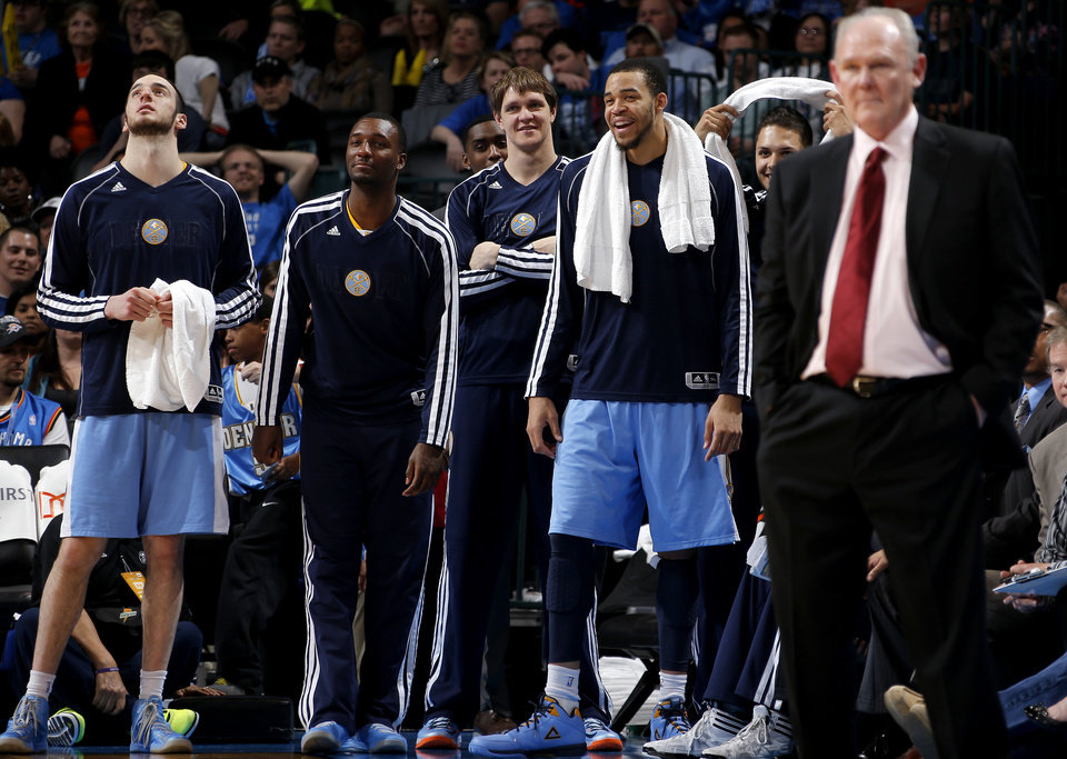 The Denver bench reacts during an NBA basketball game between the Oklahoma City Thunder and the Denver Nuggets at Chesapeake Energy Arena in Oklahoma City, Tuesday, March 19, 2013. Denver won 114-104. Photo by Bryan Terry, The Oklahoman