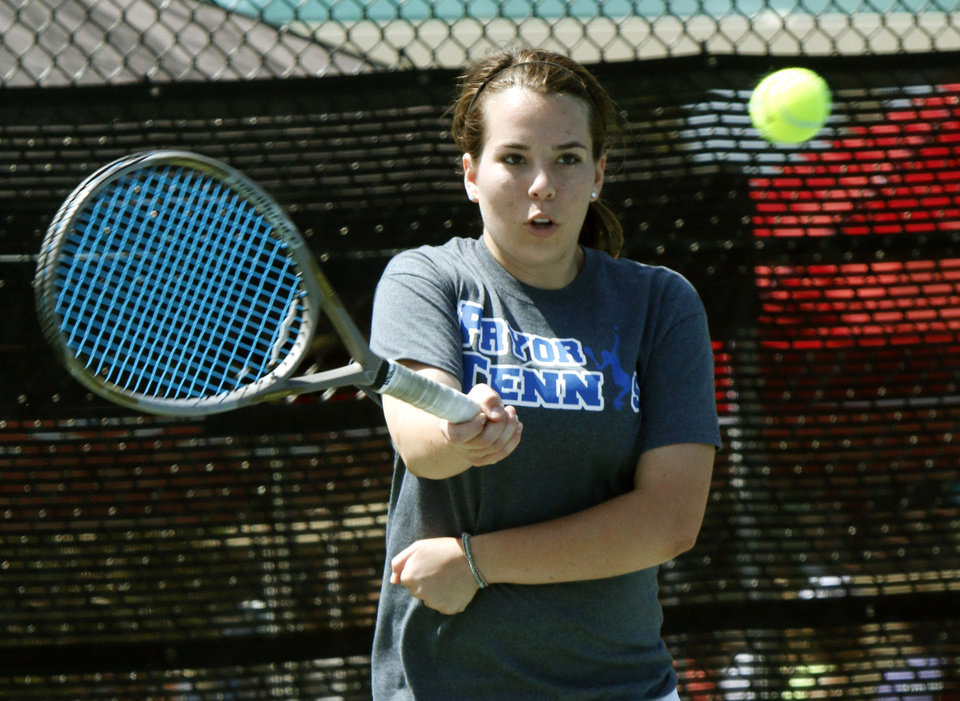 Photo - Pryor's Katarina Webster plays against Metro Christian's Becca Richison during the 5A Girl's state tennis tournament at the OKC Tennis Center in Oklahoma City, OK, Friday, May 9, 2014,  Photo by Paul Hellstern, The Oklahoman