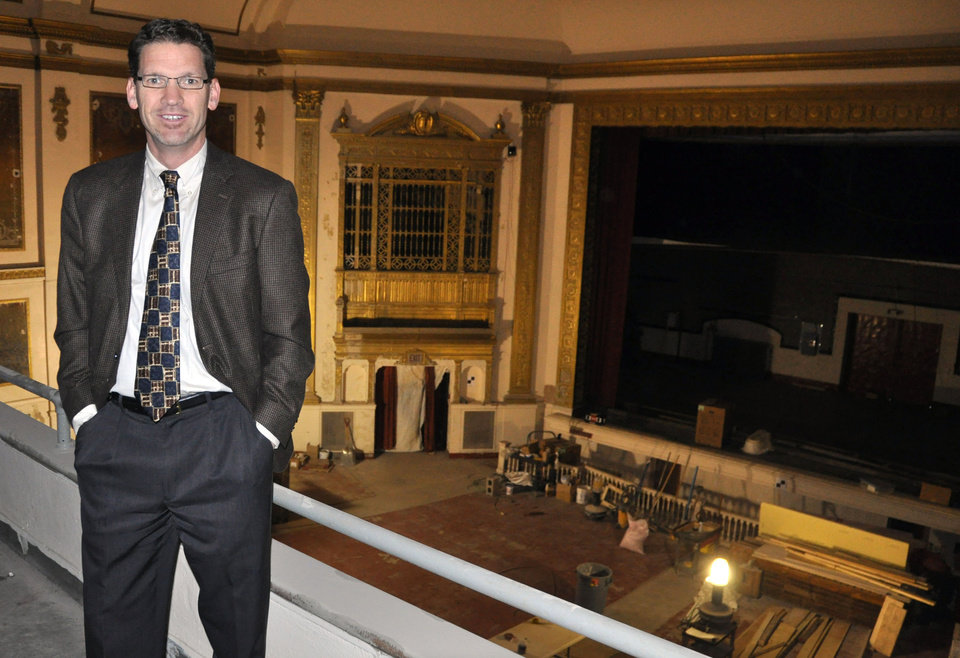 Photo -   In this Nov. 17, 2012 photo Stephen Williamson, executive director of the State Theatre, shows the balcony view inside the historic downtown movie house under restoration in Sioux Falls, S.D. The circa-1926 theater, closed since 1991, has been raising funds for its eventual reopening and plans to begin showing movies again sometime in 2013. (AP Photo/Dirk Lammers)