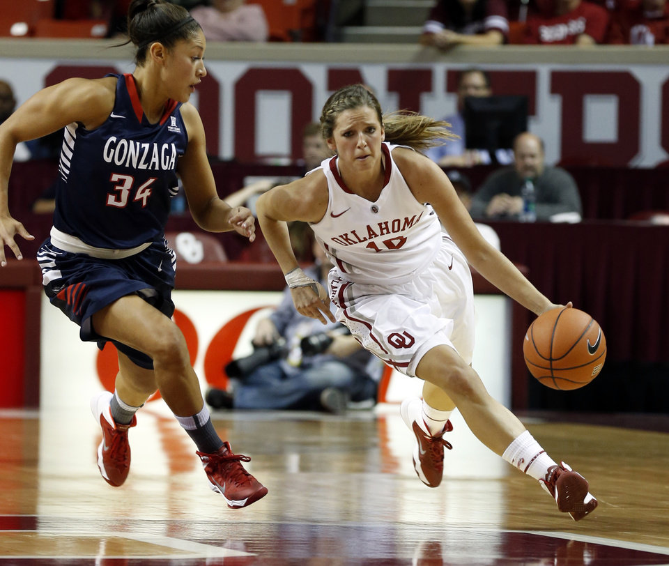 Photo - Oklahoma Sooner's Morgan Hook (10) drives past Gonzaga's Jazmine Redmon (34) as the University of Oklahoma Sooners (OU) play the Gonzaga Bulldogs in NCAA, women's college basketball at The Lloyd Noble Center on Thursday, Nov. 14, 2013  in Norman, Okla. Photo by Steve Sisney, The Oklahoman