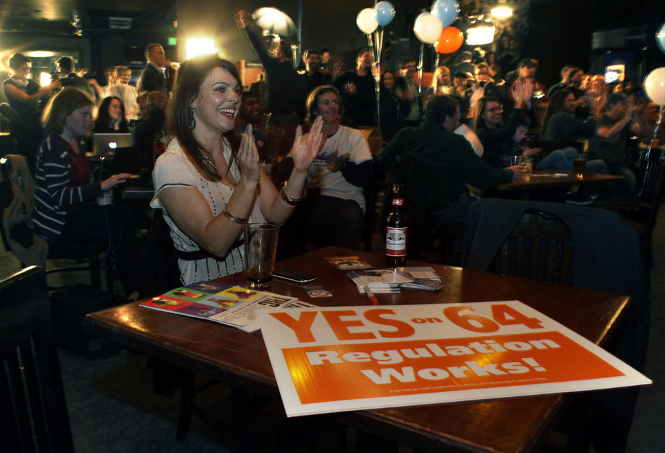 Photo -   FILE - In this Tuesday, Nov. 6, 2012 file photo, Amanda Jetter celebrates along with others attending an Amendment 64 watch party in a bar after a local television station announced the marijuana amendment's passage, in Denver. Votes this week by Colorado and Washington to allow adult marijuana possession have prompted what could be a turning point in the nation's conflicted and confusing war on drugs. (AP Photo/Brennan Linsley, File)